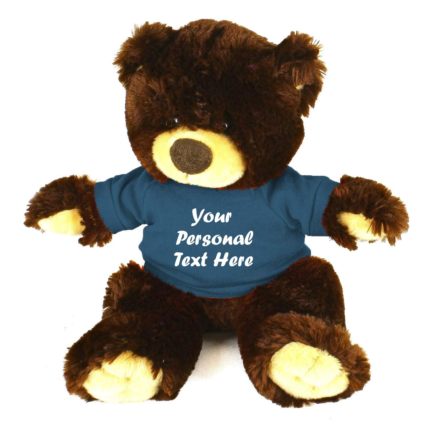 Plushland Chocolate Noah Teddy Bear 12 Inch, Stuffed Animal Personalized Gift - Custom Text on Shirt - Great Present for Mothers Day, Valentine Day, Graduation Day, Birthday (Teal Shirt)