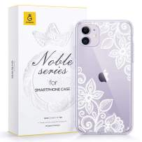 GVIEWIN Noble Series Designed for iPhone 11 Case, Clear Soft TPU Bumper & Hard Back with Floral Pattern Slim Lightweight Graceful Phone Cover for iPhone 11 6.1 Inch 2019 (Lace Flower/White)