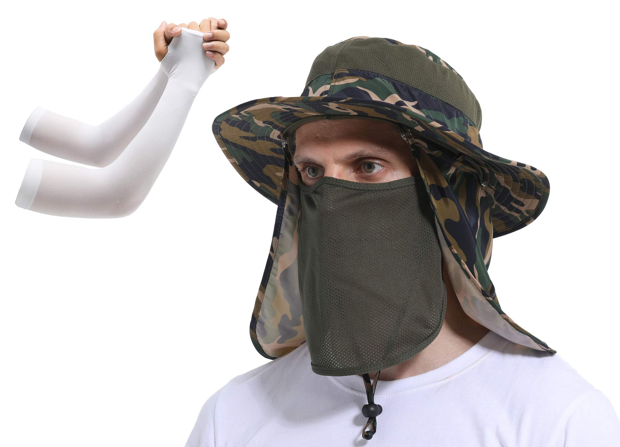 KORAMAN Fishing Hat UPF 50+ UV Sun Protection Breathable Wide Brim with Removable Face and Neck Flap Cap for Gardening Mowing Hiking Safari with Arm Sleeves