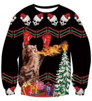 Women Mens Christmas Sweater Cool Spitfire Dinosaur Printed Ugly Xmas Sweatshirt Casual Pullover Tops Shirt L
