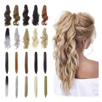 """Qunlinta Hair Extensions Ponytail 18"""" 20"""" Claw Curly Wavy Straight Clip in Hair Extensions Synthetic Hairpiece Ash Blonde"""