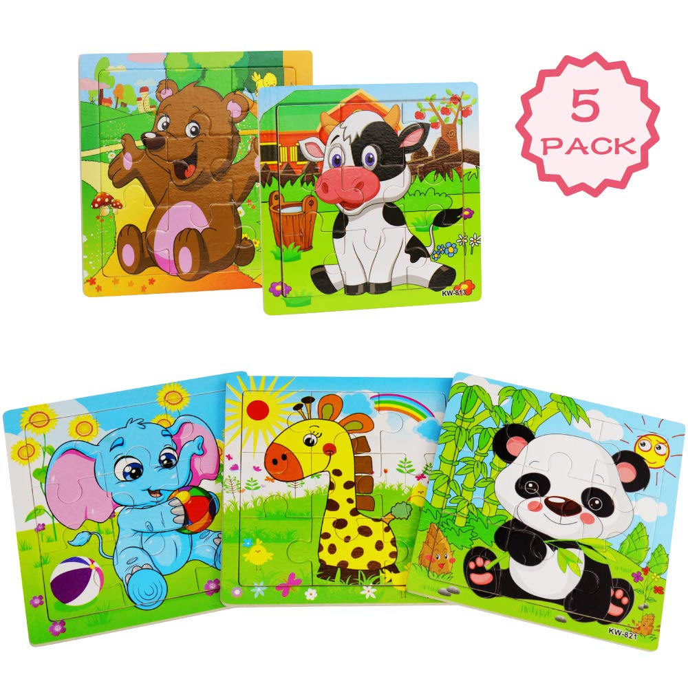 Wooden Puzzles for Toddlers 2-5 Years Old, WOOD CITY Jigsaw Puzzles Set for Kids, 9 Pieces Preschool Animal Learning Puzzle Toys, Gift for Boys and Girls (5 Pack)