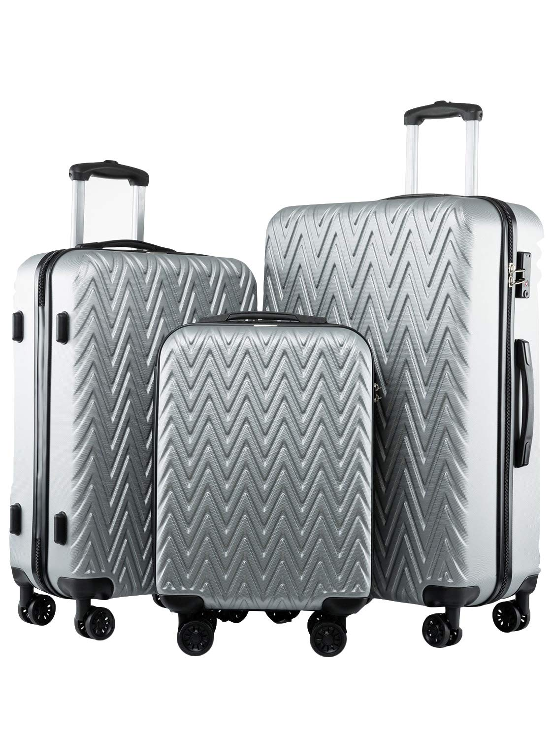 Seanshow Luggage 3 Piece Set Silver Lightweight TSA Lock 3PCS Luggage Set For Travel 18-24-28in