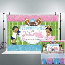 Riyidecor Boy Girl Touchdowns or Tutus Gender Reveal Backdrop Pink Blue Photography Background Newborn Baby Shower Party 7x5ft Decor Props Photo Shoot Banner Vinyl Cloth