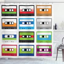 """Ambesonne 90s Shower Curtain, Composition of Retro Plastic Audio Cassettes Tapes Old Technology Entertainment Theme, Cloth Fabric Bathroom Decor Set with Hooks, 70"""" Long, Multicolor"""