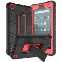 Elegant Choise All-New Amazon Fire 7 Tablet Case, Kindle Fire 7 Case, Rugged Kickstand Three Layer Heavy Duty Shockproof Protective Cover for Fire 7 (2017 7th Generation, 2019 9th Generation) (Red)