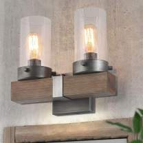 """LOG BARN Retro Wall Sconce in Real Distressed Wood and Brushed Antique Silver Finish with Cylindrical Bubbled Glass Shades, Small, 11.8"""" Vanity Light for Bathroom"""