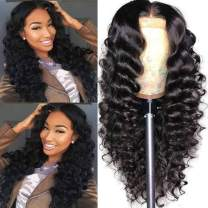 BINF Hair 14 Inch Loose Deep Wave Human Hair Lace Closure Wigs with Baby Hair Pre Plucked Natural Hairline, Brazilian Virgin Hair 4x4 Lace Front Wigs for Fashion Women Natural Color