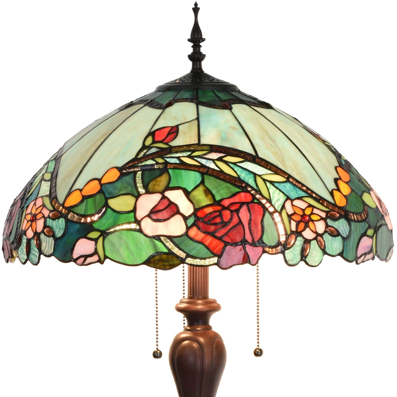Bieye L10740 Rose Flower Tiffany Style Stained Glass Floor Lamp with 18-inch Wide Shade for Reading Working Bedroom, 3 Lights, 65 inch Tall