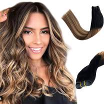 24 Inch Balayage Hair Bundles Sew in Hair Weft Ombre Black to Brown with Strawberry Blonde Highlights Extensions Hair Bundle Double Wefted Brazilian Straight Remy Human Hair Extensions 120G for Women