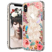 MOSNOVO iPhone Xs Max Case, Floral Flower with Christian Quote Pattern Printed Clear Design Transparent Plastic Back Case with TPU Bumper Protective Case Cover for iPhone Xs Max