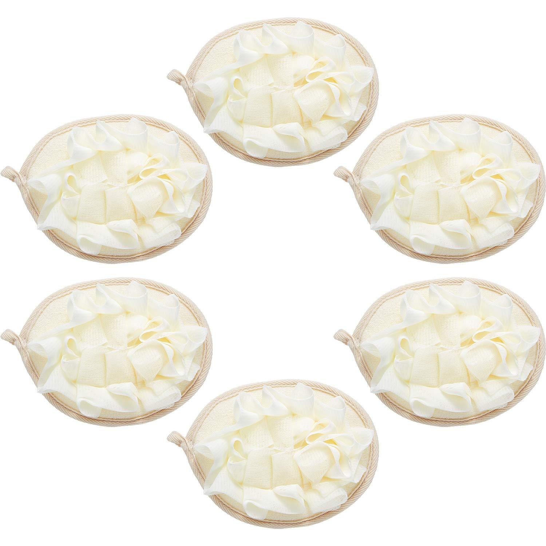 6 Pieces Bath Shower Pouf Sponge Mesh Pouf Shower Ball Exfoliating Body Loofah Shower Scrubber Ball Shower Glove with Flower Bath Ball (Beige)