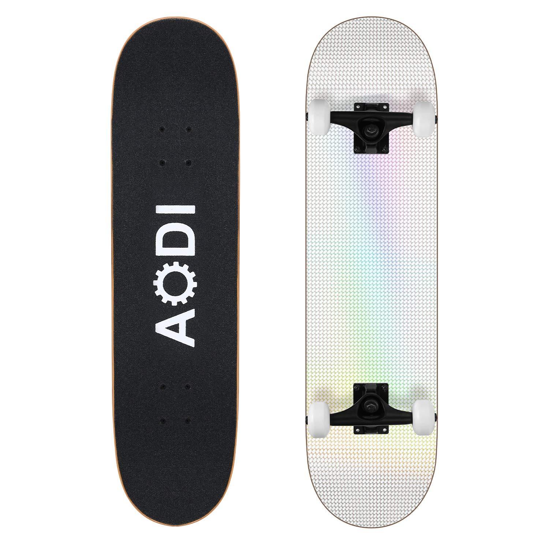 Pro 31x8 Standard Complete Skateboard Canadian 7 Layer Maple Wood Kick Cruiser Skate Board for Adults AODI Skateboards for Beginners Boys /& Kids Teens Girls