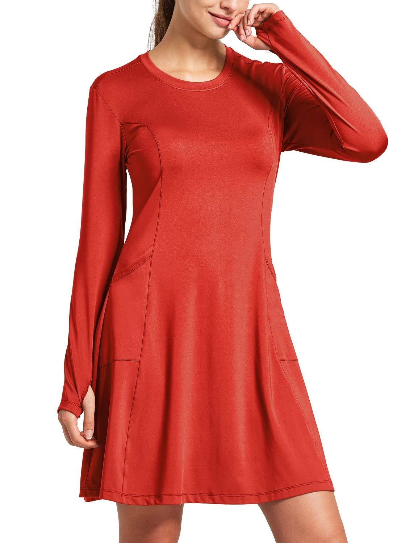 BALEAF Women's Summer Dresses UPF 50+ Sun Protection Shirt Casual Dress SPF Long Sleeve Cover Ups Pockets