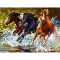 5D Full Drill Diamond Painting Kit for Adults, DIY Diamond Rhinestone Painting by Number Kits Embroidery Arts Craft Home Wall Decor - Three Running Horses (15.7x11.8 in)