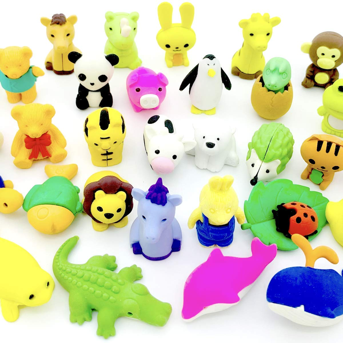 OHill Pack of 32 Animal Erasers Bulk Kids Pencil Erasers Puzzle Erasers Mini Novelty Erasers for Classroom Rewards, Party Favors, Games Prizes, Carnivals Gift and School Supplies