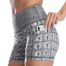 "RAYPOSE Workout High Waist Yoga Print Shorts for Women Exercise Running Gym Bike Short Side Pockets 3"""