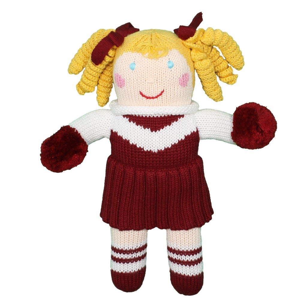 Zubels Baby Girls' Hand-Knit Cheerleader Doll, All-Natural Fibers, Eco-Friendly, 12-Inch, Maroon & White