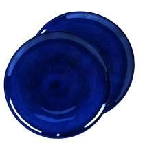 roro Dark Blue and Matte Gray Ceramic Stoneware Dinner Plate, 11 Inch Set of 2