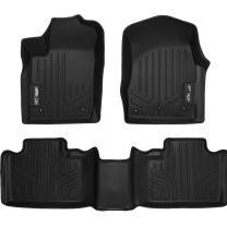 MAXLINER Floor Mats 2 Row Liner Set Black for 2013-2016 Jeep Grand Cherokee or Dodge Durango with Front Row Dual Floor Hooks
