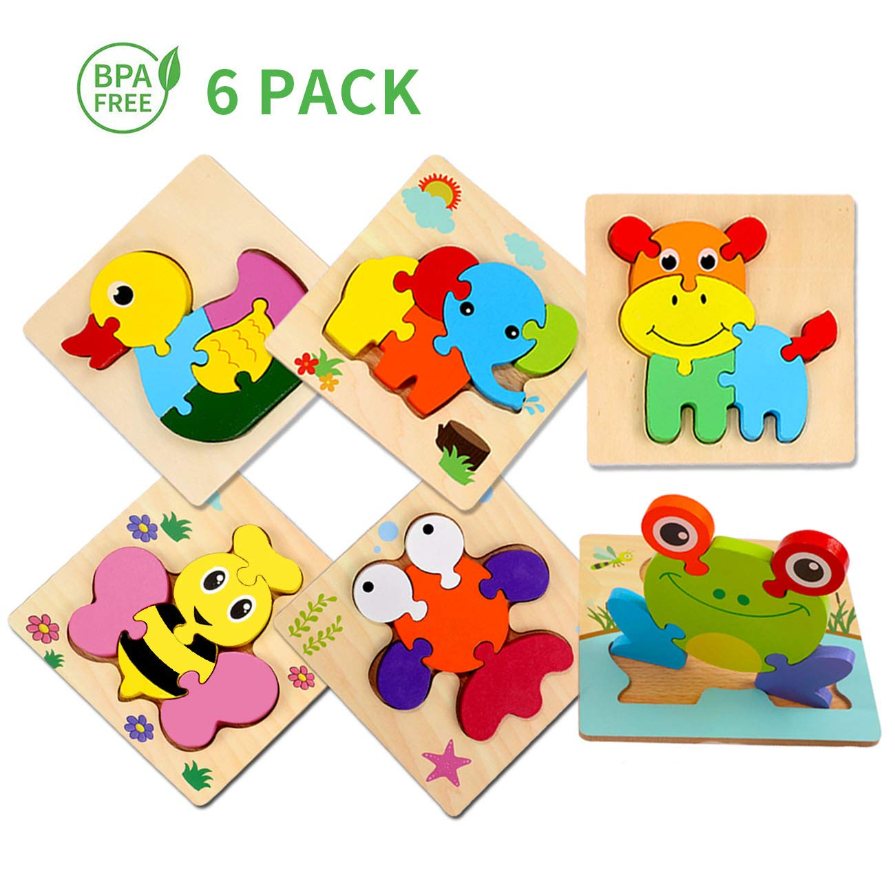 Sendida Wooden Jigsaw Puzzles Toddlers Toys - Montessori Toys Animals Shape Puzzle 1 2 3 4 Year Old, Preschool Puzzles Set for Kids Children, Shape Color Learning Educational Blocks Kids Gift (6 Pack)