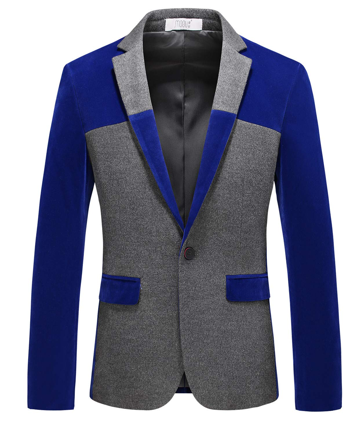 MOGU Men's 1 Button Center Vent Wool Blend Blazer Jacket