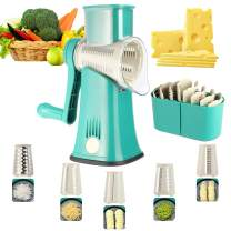 Rotary Cheese Grater 5 in 1 ANOTER-Kitchen Round Mandoline Slicer Easy Clean Handheld Julienne Shredder Waffle Slicers Stainless Steel Blades for Veggies Nuts French Fries