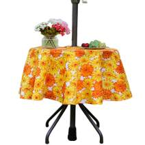 Eternal Beauty Polyester Outdoor Tablecloth Round Spillproof with Umbrella Hole Zipper for Fall Patio Picnic BBQ (Sunflower, 52inch)