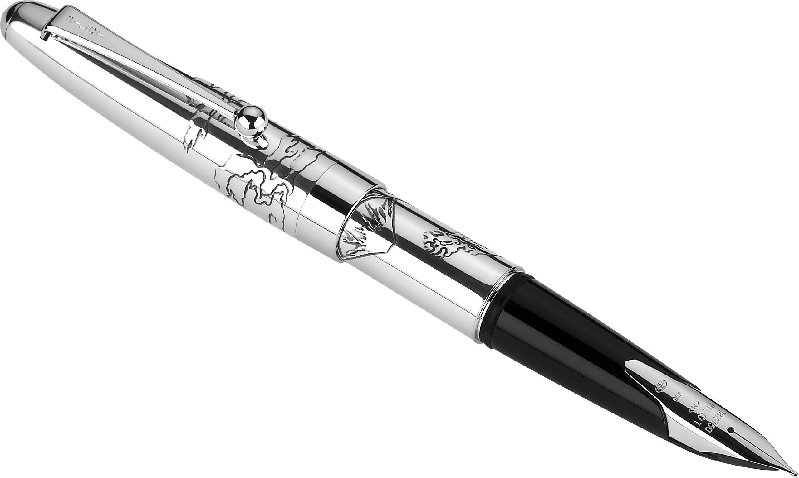 PILOT Namiki Sterling Collection Fountain Pen, Mount Fuji Design Barrel, Medium Nib (60685)