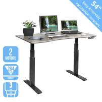 """Seville Classics AIRLIFT Pro S3 54"""" Solid-Top Commercial-Grade Electric Adjustable Standing Desk (51.4"""" Max Height) Table, Black/Ashwood"""