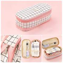 Oyachic Telescopic Pencil Case Large Capacity Zipper Pen Bag Canvas Makeup Stationery Box Office School Supplies Pouch (Pink)