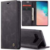 Galaxy S9/S9 Plus/S10/S10 Plus Slim Folio Leather Wallet Card Holder Case with Kickstand Magnetic Flip Protective Cover