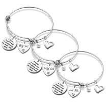 EIGSO Sister Bracelets Set of 2 3 4 Big Sister Mid Sister Lil Sister Bracelet Sister Jewelry Set Sister Gifts