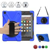 BRAECN All-New Amazon Fire 7 Case (9th Generation,2019 Model), Rugged Shockproof Case with Rotating Hand Strap/Kickstand and Carrying Shoulder Strap for Fire 7 2019/2017 Model 9th/7th Generation -Blue