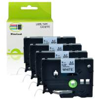 """NineLeaf 4 Pack Black on White Labeling Tape Compatible for Brother TZe211 TZ-211 TZ211 Laminated Label Tape Cartridge for P-Touch Label Makers & Printers 1/4""""x 26.2""""(6mm x 8m)"""
