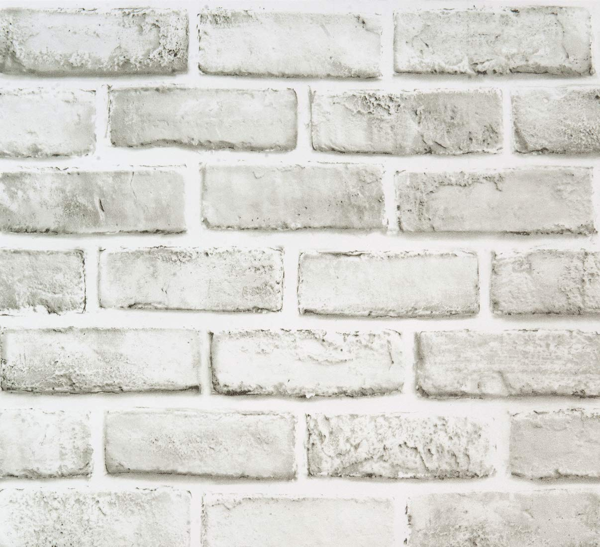 """White Brick Peel and Stick Wallpaper Removable Contact Paper Cleanable Wall Paper Shelf Paper Self Adhesive Grey/White Brick Vinyl Pattern Bathroom Backsplash 17.7""""x393.7"""" Fireplace Decoration"""