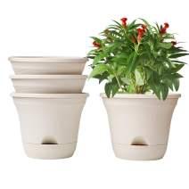 T4U 7.5 Inch Self Watering Planter Pot Set of 4 Long-Term Water Storage Plant Pot Deep Reservoir Planter Pot Container for House Plants, Flowers, Herbs, Succulents Home Decoration (Beige)