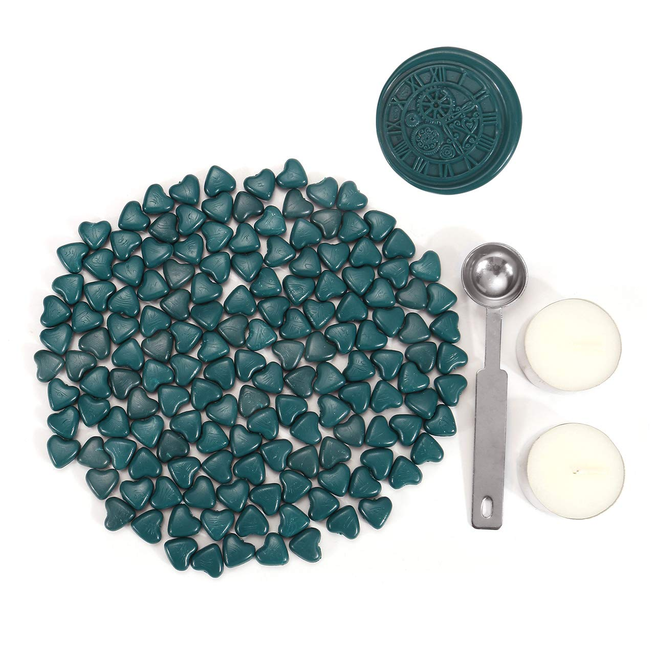 Sealing Wax Beads, Yoption 150 Pieces Heart Shape Wax Seal Beads with a Wax Melting Spoon and 2 Pieces Candles for Wax Seal Stamp (Peacock Blue)