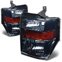 DNA Motoring HL-OH-FSUPER08-SM-AM Smoke Lens Amber Headlights Replacement For 08-10 F250 F350 F450 F550 SD