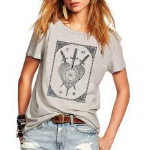 Weigou Summer Vintage Tops Sword Tarot Circle Print Sleeveless T Shirt Women Casual Top Tees Camisa Lady T-Shirt