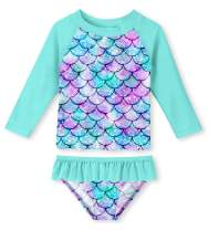 uideazone Little Girls 2-Piece Swimsuit Set Long Sleeve Rash Guard Bathing Suit with UPF 50+ Sun Protection