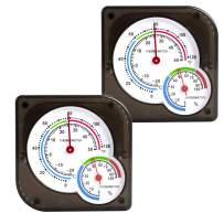 BOEESPAT 2-Pack Mini Indoor Thermometer Hygrometer Temperature Humidity Monitor Gauge for Home, Room, Kitchen, Patio, Planting Room, Reptile Terrariums (No Battery Needed) (2-Pack.)