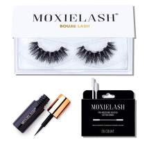 MoxieLash Boujie Kit - Mini Magnetic Liquid Eyeliner for Magnetic Eyelashes - No Glue & Mess Free - Fast & Easy Application - Set of Boujie Lashes & Makeup Removers Included