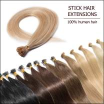 """Pre Bonded Cold Fusion Hairpiece I Tip Hand Tied Hair Extensions Human Hair Highlighted Ash Blonde & Bleach Blonde 16 Inch Soft Straight Remy Hair Stick Tips—16"""" #18&613 50g 100 Strands"""