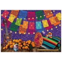 Allenjoy 7x5ft Mexican Fiesta Theme Backdrop for Photography Purple Day of The Dead Party Background Cinco de Mayo Colorful Flags Holiday Wall Banner Decor Baby Shower Decoration Photo Booth Props
