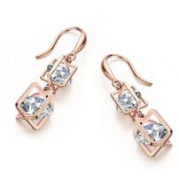 SBLING Platinum Plated or 18K Rose Gold Plated Cubic Zirconia Drop Earrings(9.5cttw)-Gifts for Women/Girls