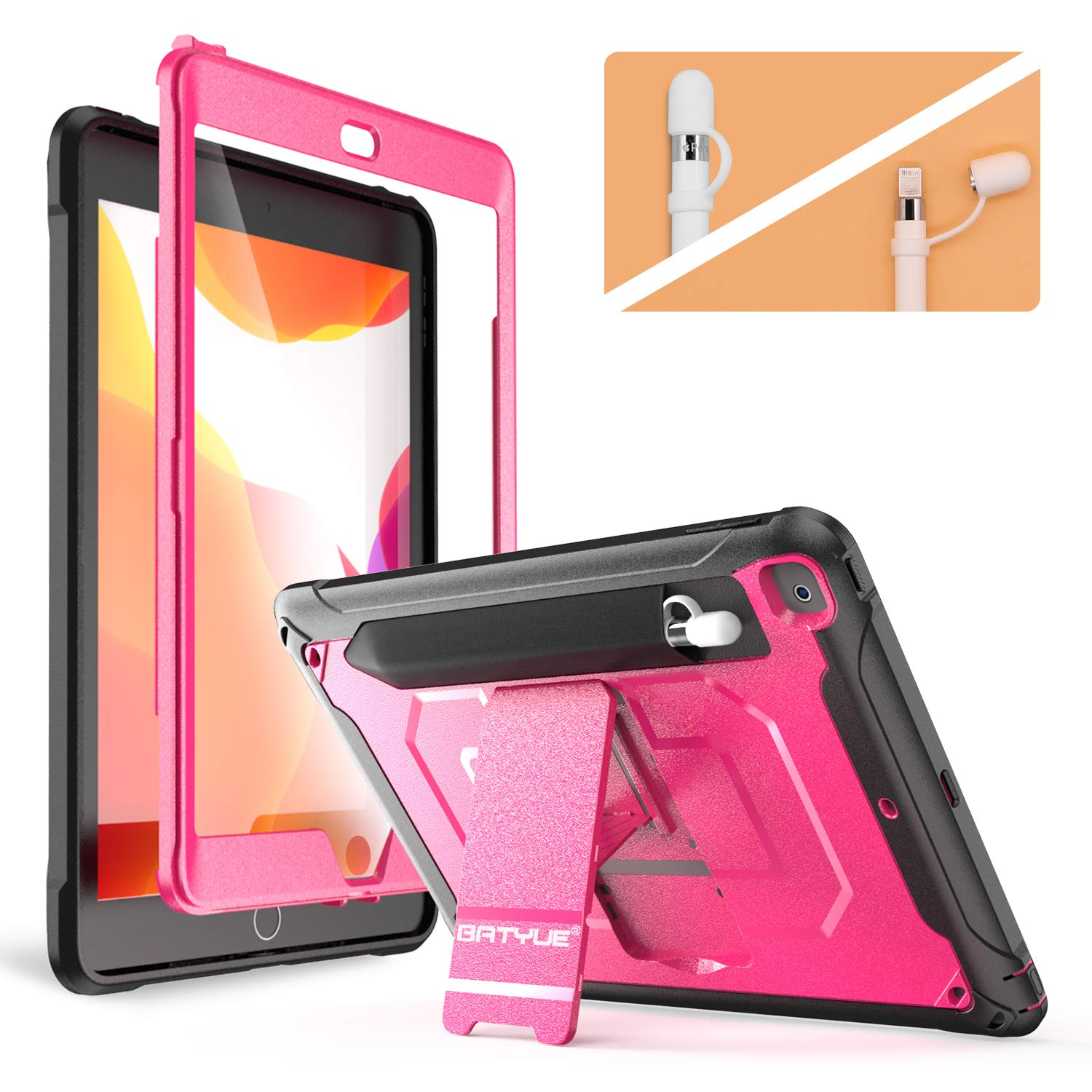 BATYUE New iPad 10.2 Case 2019, [Built-in Screen Protector] Shockproof Anti-Slip High Impact Resistant Armor Protective Case w/Stand/Pencil Holder/Pencil Cap Holder for iPad 7th Generation (Rose Red)
