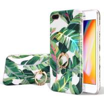 EYZUTAK Tropical Leaf Floral Pattern Case for iPhone 7 iPhone 8 iPhone SE 2020, Ultra Slim TPU Case with Ring Holder Stand Shock Absorption Basic Protector Cover - Green