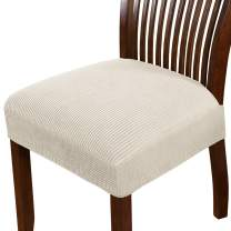 Dining Chair Seat Cover Stretch Spandex Chair Seat Covers Chair Seat Cushion Slipcovers for Dining Room Kitchen Chairs Removable Washable Chair Seat Covers - Set of 2, Biscotti Beige