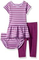 Hanes Baby Girls' Flexy Short Sleeve Tunic with Diaper Cover and Legging Set
